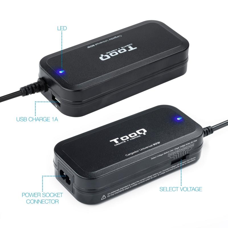 Tooq Cargador portátil 90W manual 12 conectores