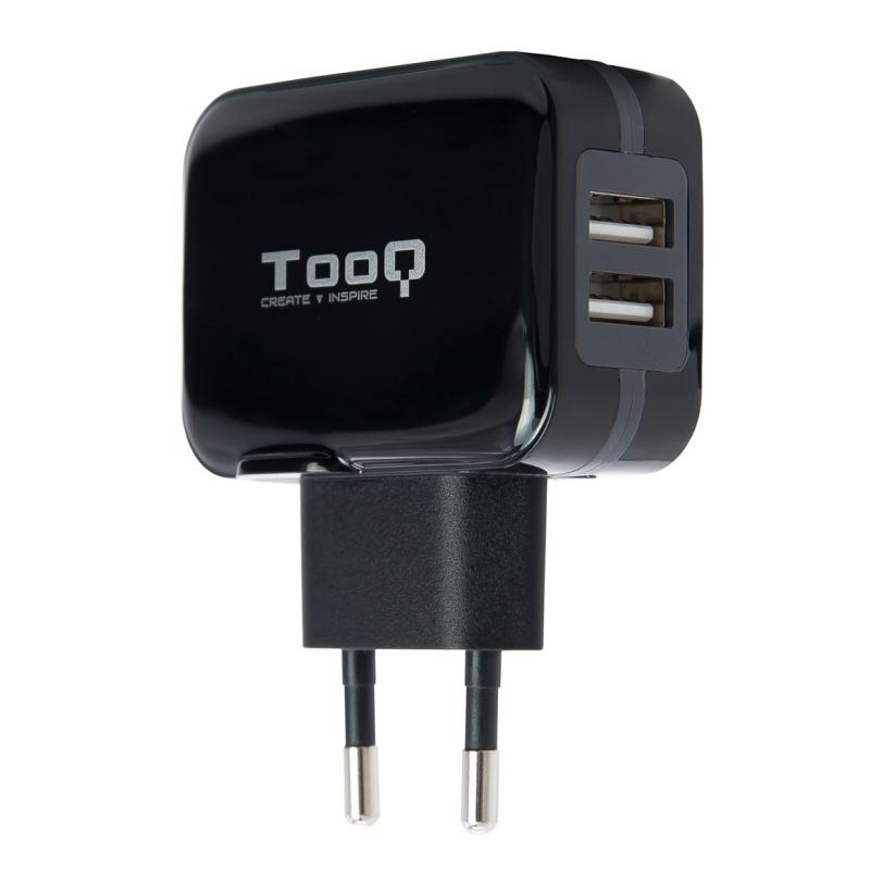 TooQ TQWC-1S02 Cargador de pared 2 USB Negro