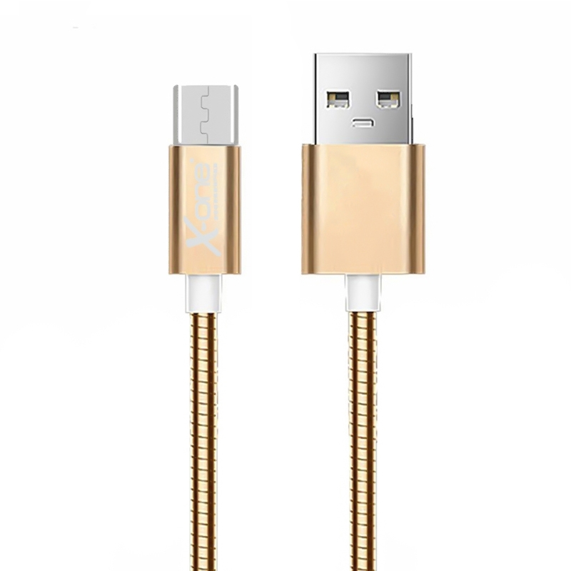 X-One CMM1000G Cable USB 2.0 metal Micro Oro Rosa