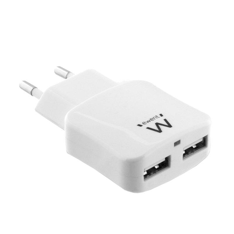 EWENT EW1302  CARGADOR 2 PUERTOS USB 2.4 (12W)