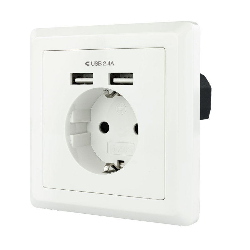 Nanocable Base de enchufe pared schuko+2USB 2.4A