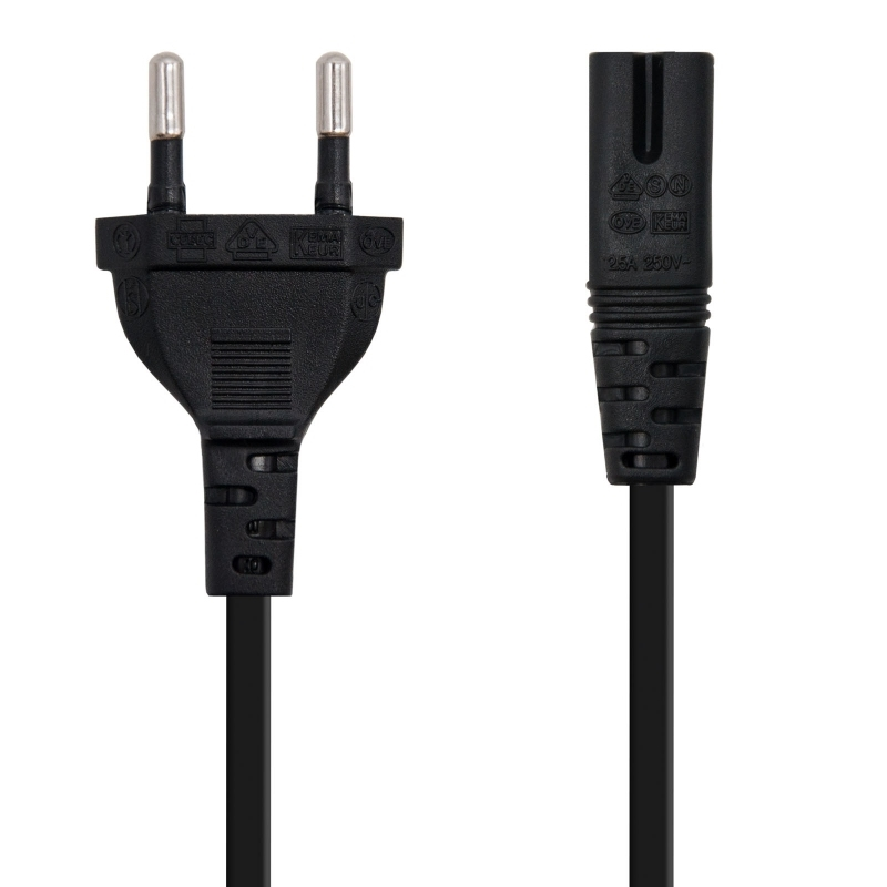 Nanocable Cable alim. forma 8 CEE7/16/M-C7/H, 1.5m