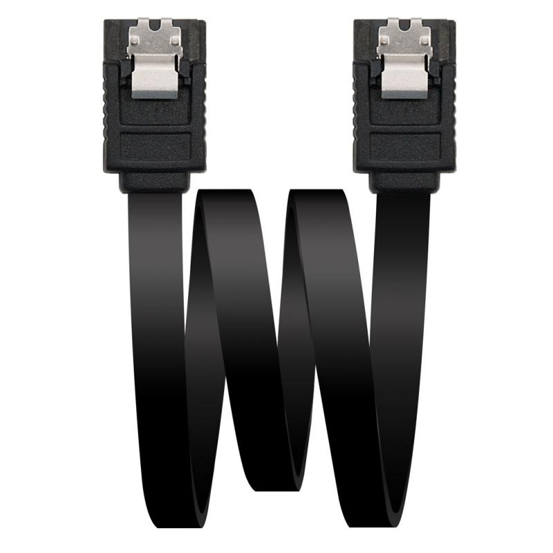 Cable SATA III Datos 6G Anclajes Negro 0.5 m