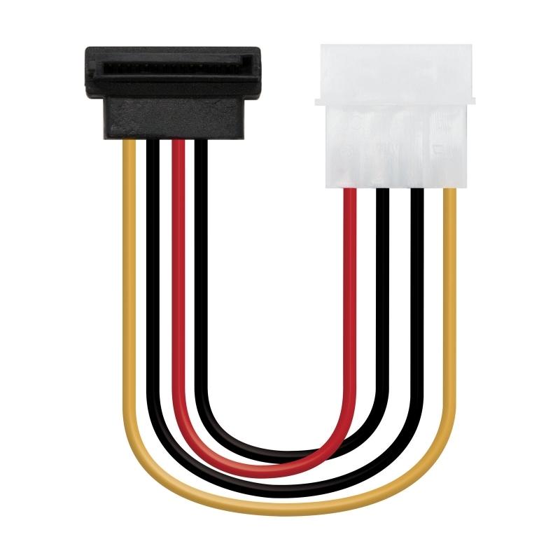 Nanocable Cable SATA acodado, Molex M-SATA/H, 16cm