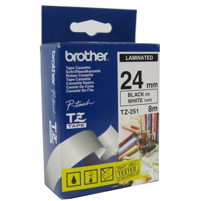 Brother TZe251 cinta laminada 24mm Blanco/Negro 8m