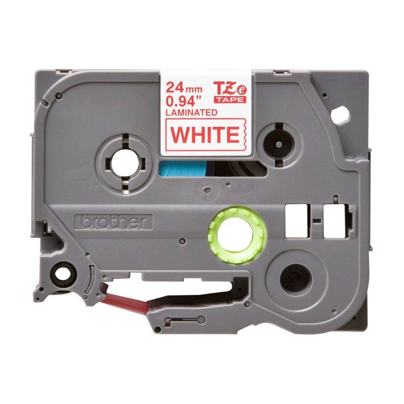 Brother TZe252 cinta laminada 24mm Rojo/Blanco 8m
