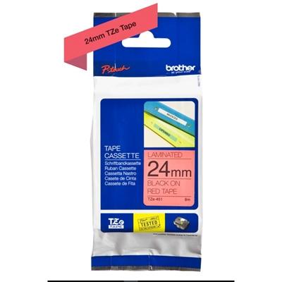 Brother TZe451 cinta laminada 24mm Negro/Rojo 8m