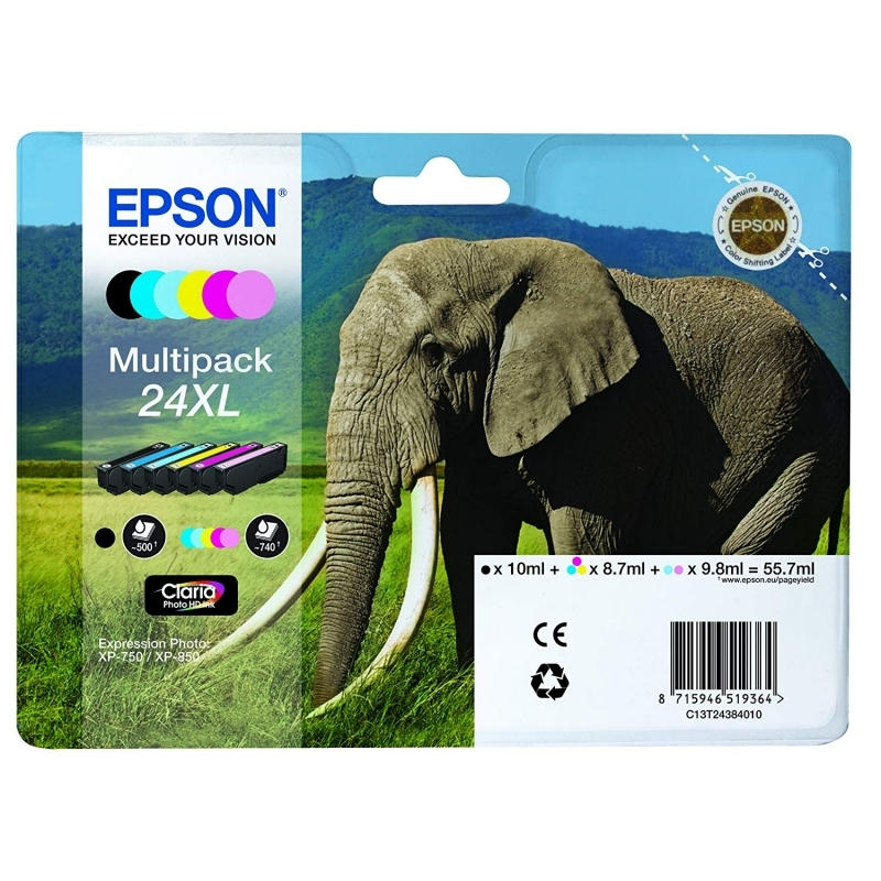Epson Cartucho 24XL Pack 6 colores XP-970