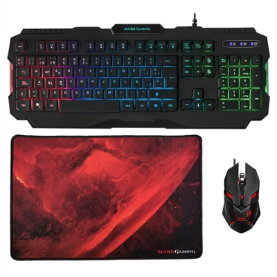 Mars Gaming Tecla+Ratón4000DPI+Alfombrilla Rainbow
