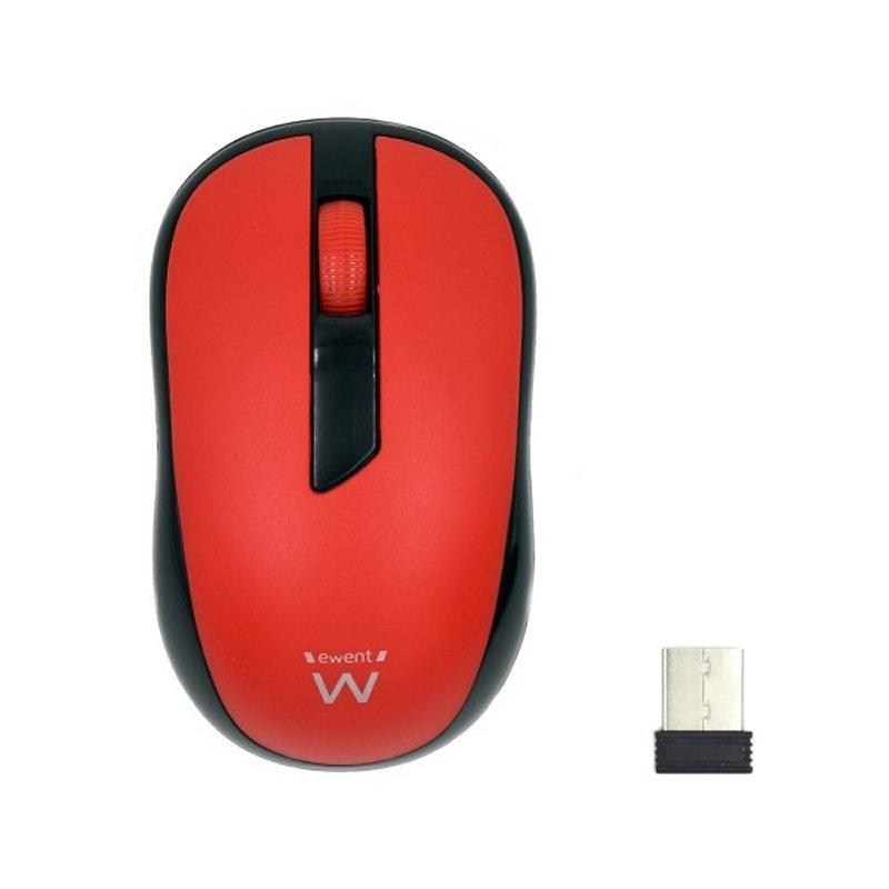 Ewent EW3225 Ratón inalámbrico Rojo 1000 dpi