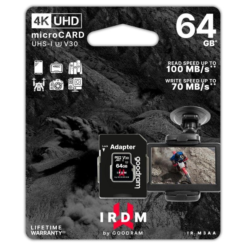 Goodram IRDM UHS-I U3 Micro SD 64GB c/adap
