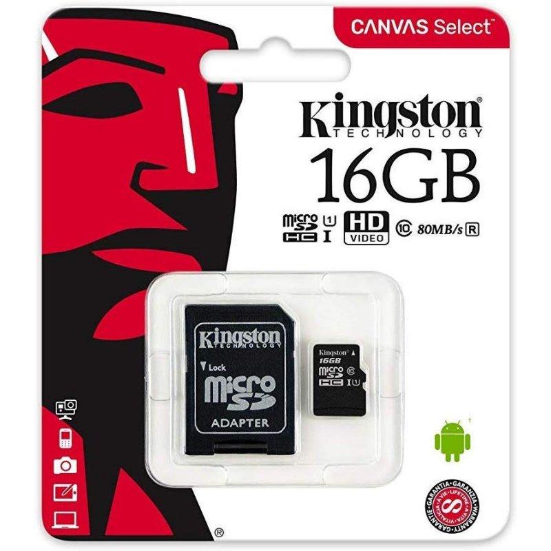 Kingston SDCS2/16GB micro SD XC clase 10 16GB c/a