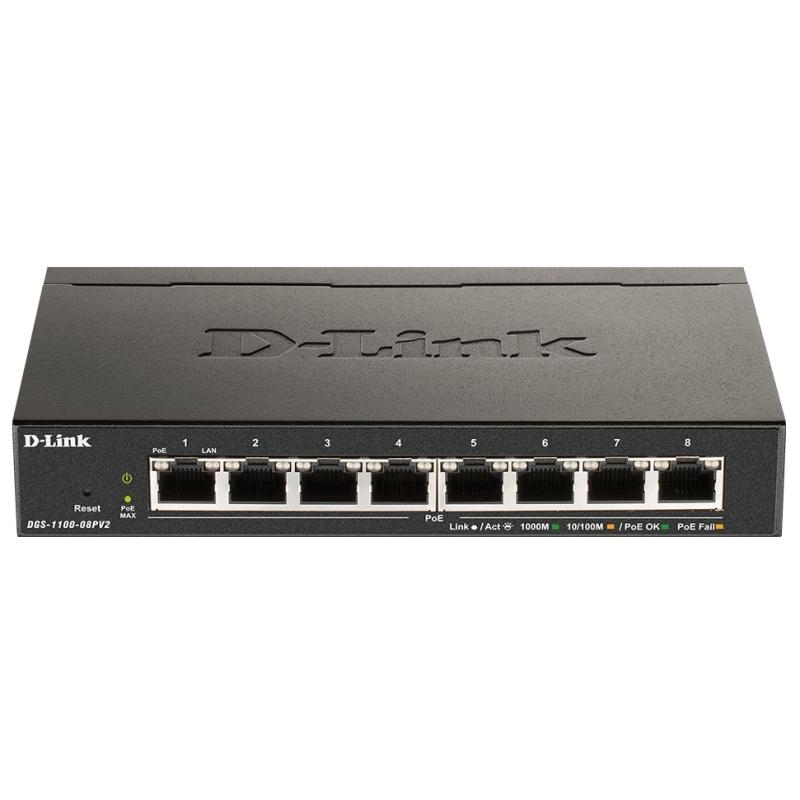 D-Link DGS-1100-08PV2 8xGb PoE Smart Switch (64W)