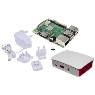 Raspberry kit Pi 3 B+ + caja bca/roja + fuente b