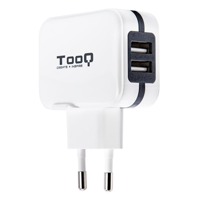 TOOQ CARGADOR TABLET/ SMARTPHONE TQWC-1S02WT. DE PARED. 2 x USB 5V 3.4 A TOTAL. AI TECH. BLANCO