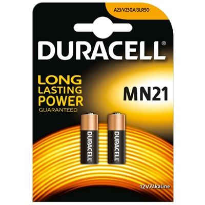 (2) Pilas DURACELL MN21 Security 23A Plus Power 12v LRV08, alcalina, blister