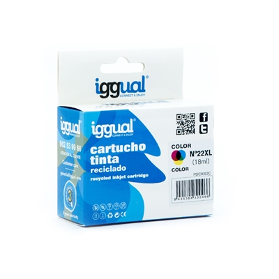 iggual Cartucho Reciclado HP Nº 22XL C9352CE Color