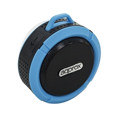 ALTAVOZ BLUETOOTH APPROX APPSPWPBBL BLACK BLUE - 3W RMS - WATERPROOF - RADIO FM - MICRO SD - FUNCION MANOS LIBRES